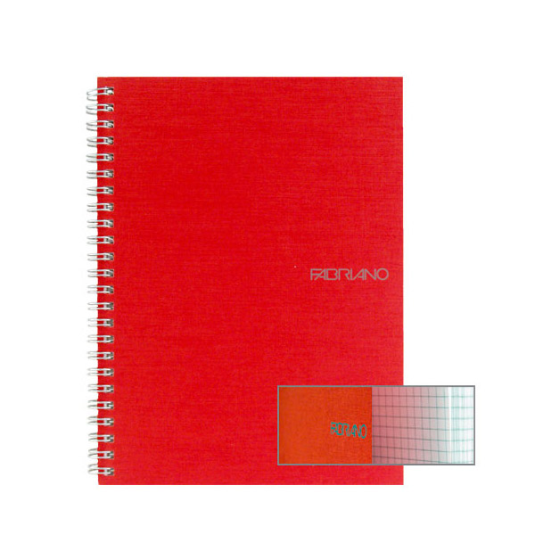 Fabriano Ecoqua A4 Spiral Bound Graph 10MM Notebook Raspberry