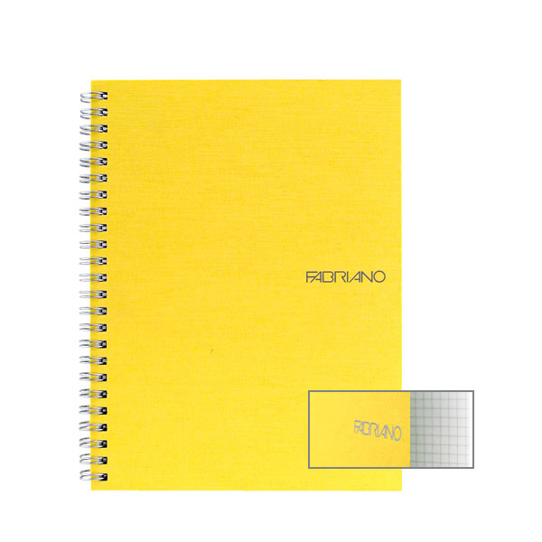 Fabriano Ecoqua A4 Spiral Bound Graph 4MM Notebook Yellow
