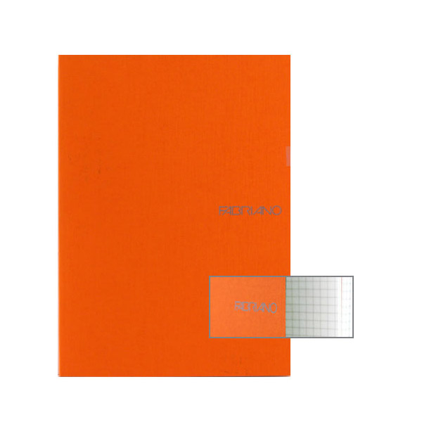 Fabriano Ecoqua A4 Staple Bound Graph 4MM Notebook Orange (Pack of 2)