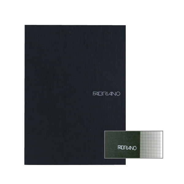 Fabriano Ecoqua A4 Staple Bound Graph 4MM Notebook Black (Pack of 2)