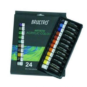 BRUSTRO ARTISTS ACRYLIC COLOUR SET OF 24 COLOURS X 12ML TUBES