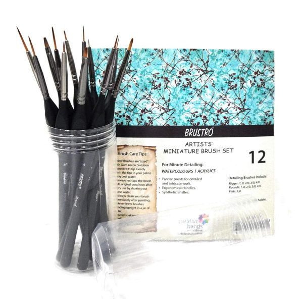 BRUSTRO Artists' Watercolour & Acrylic Miniature Brush Set of - 12