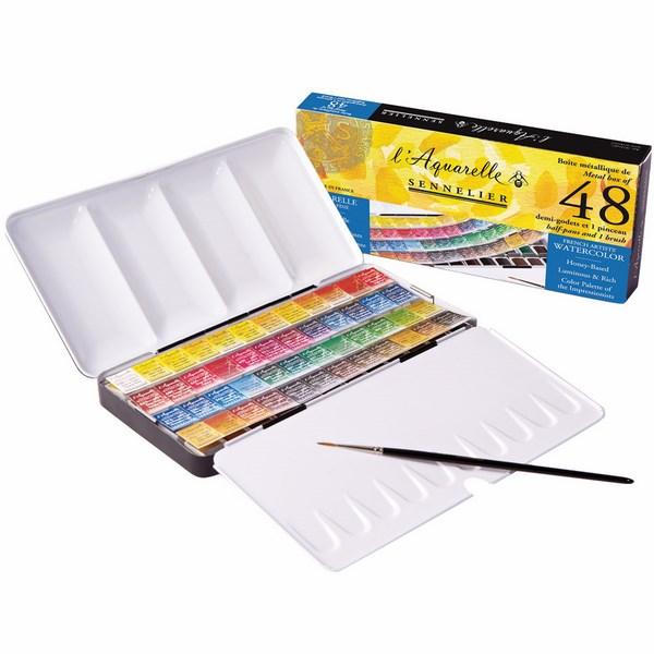 Sennelier l'Aquarelle French Artists' Watercolor Set - Metal Box of 48 Half Pans