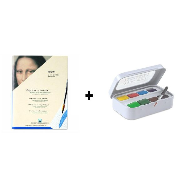 Sennelier l'Aquarelle French Artists' Watercolor Aqua-Mini Set - Metal Box of 8 Half Pans (MRP 1,590 ) + Schoellershammer Torchon No. 6 Artists'water Colour Block ( 36 x 48 cm ) 250 gsm (MRP 1,140 )