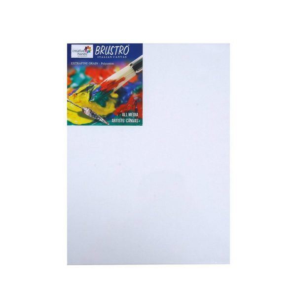 "Try It ! Brustro Polycotton Stretched Canvas ( Extra fine grain) 12""X16"""