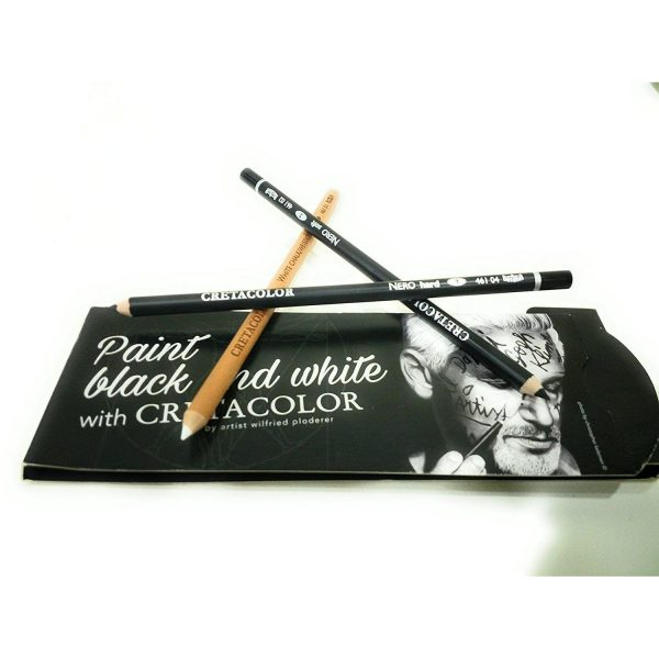 Try It ! Cretacolor Black & White Pencils (White Chalk & 2 Nero)
