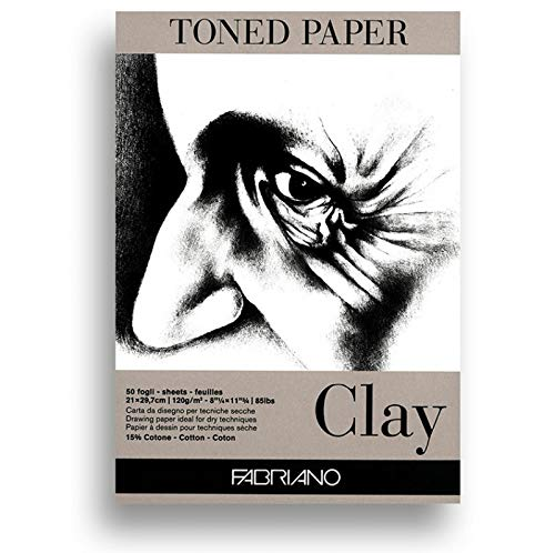 Fabriano Toned Paper Pad Clay, Size - A4, 120 GSM (Contains- 50 Sheets)