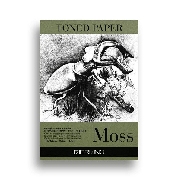Fabriano Toned Paper Pad Moss, Size - A4, 120 GSM (Contains- 50 Sheets)