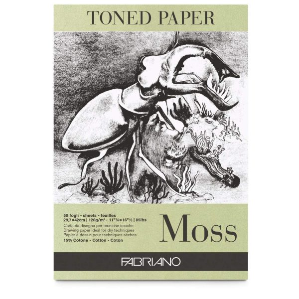 Fabriano Toned Paper Pad Moss, Size - A3, 120 GSM (Contains- 50 Sheets)