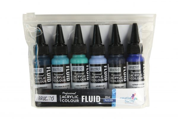 Brustro Professional Artists' Fluid Acrylic 20 ml Beyond The Blues Pack of 6