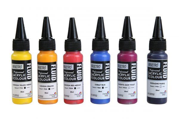 Brustro Professional Artists' Fluid Acrylic 20 ml High Chroma Pack of 6