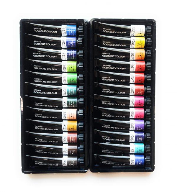 BRUSTRO Artists' Gouache Colour Set of 24 Colours X 12ML Tubes