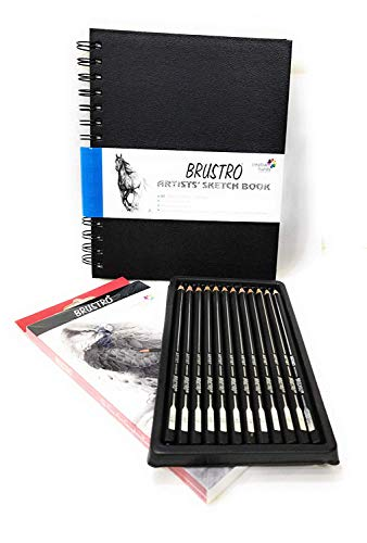 BRUSTRO Wiro Bound A5 Size Artists Sketch Book, 120 Pages, 160 GSM and Artists' FINEART Graphite Pencil Set of 12 (10B-2H)