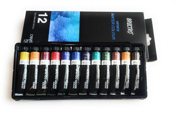 BRUSTRO Artists' Watercolour Set of 12 Colours X 12ML Tubes