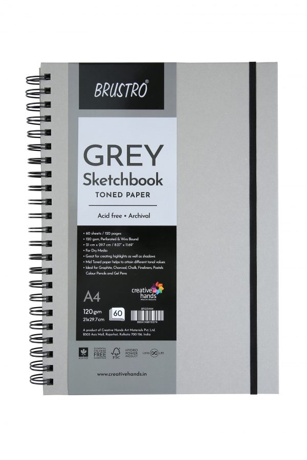Brustro Toned Paper-Grey Sketchbook, Wiro Bound, Size A4, 120GSM (60 Sheets)120pages