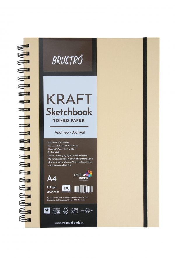 Brustro Toned Paper-Kraft Sketchbook, Wiro Bound, Size A4, 100GSM. (100 Sheets)200pages