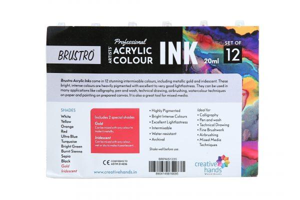 Brustro Professional Artists' Acrylic Ink Set of 12 x 20ml