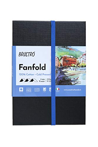 Brustro Artists Fanfold Watercolour Book 100% Cotton Mouldmade 300 GSM Cold Pressed 10.5x15cm.(9 Folds/18 Sides)