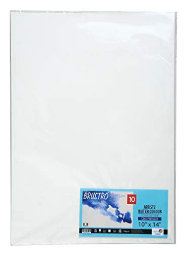 """Brustro Artists Watercolour Paper, 100% Cotton, 300 GSM, Cold Pressed, Size - 10"""" x 14"""" (Inches), Pack of 10 Sheets"""