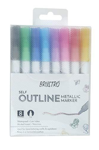 Brustro Self Outline Metallic Marker Set of 8