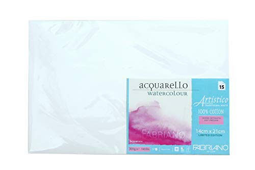 Fabriano Artistico Traditional White Watercolour Paper Hot Pressed 300 GSM 14 X 21 cm (Pack of 15 Sheets)