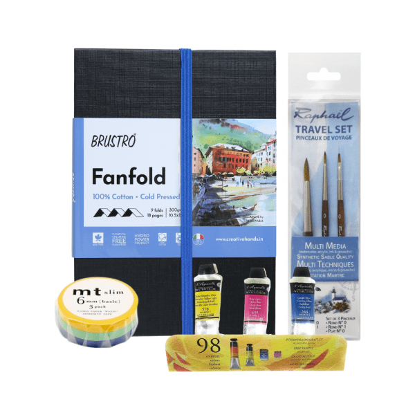 Brustro Artists Fanfold WC Books -CP and Raphael Mini Precision Travel Set with Sennelier WC Pouch of 3 and MT Slim Making Tape