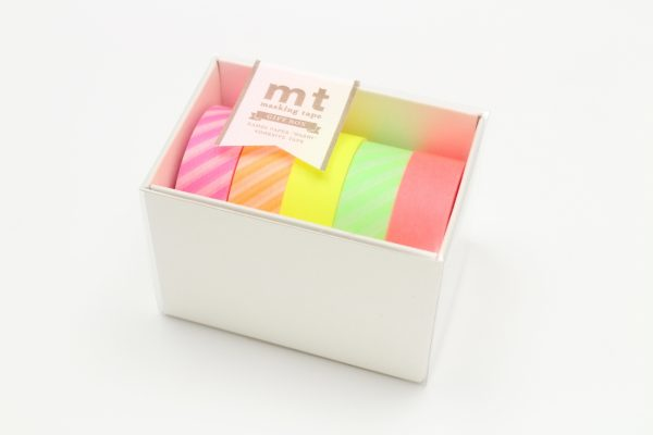 MT Washi Japanese Masking Tape Gift Box, 15 mm x 5 mtrs Shade - NEON2 (Pack of 5)