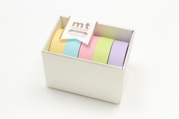 MT Washi Japanese Masking Tape Gift Box, 15 mm x 5 mtrs Shade - PASTEL2, (Pack of 5)