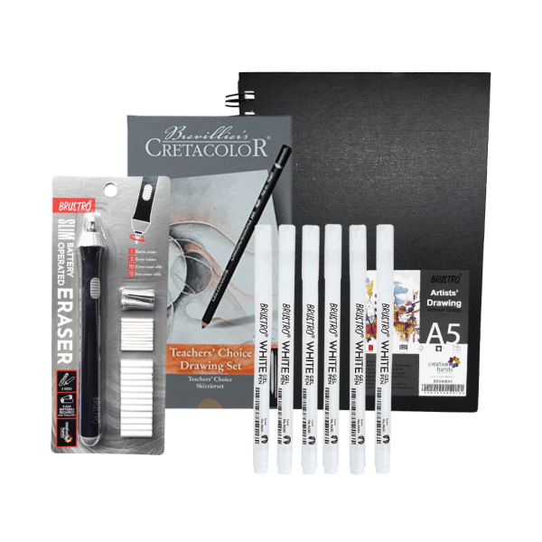 Brustro Artists Sketch Book Wiro Bound A5 and Cretacolor Beginners Drawing Set of 11 with Brustro White Gel Pen Set of 6 and Slim Battery Operated Eraser