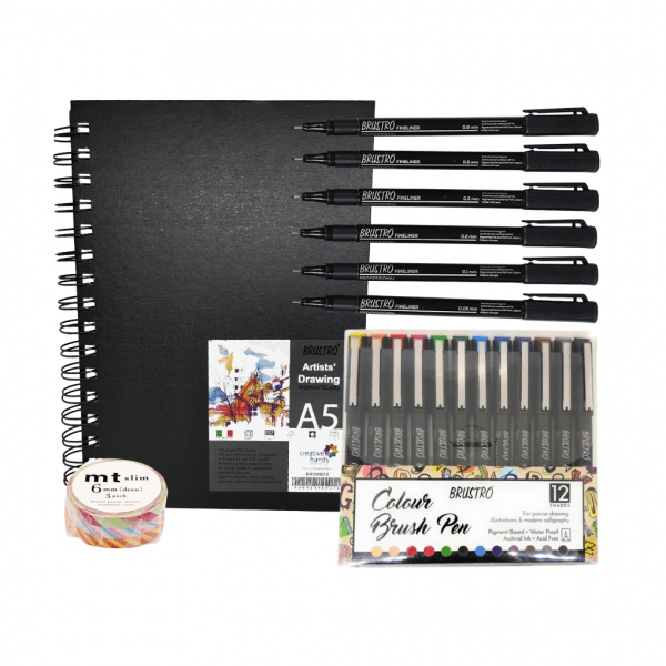 Brustro Artists Sketch Book Wiro Bound A5 and Brustro Fineliner Pack of 6 (Black) with Brustro Colour Brush Pens Set of 12 and MT Slim Masking Tape