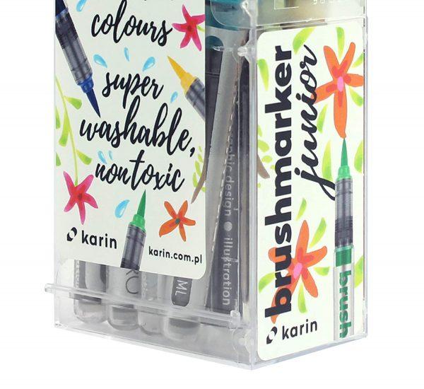 Karin Brushmarker Junior 11 Basic Colours + Blender Set