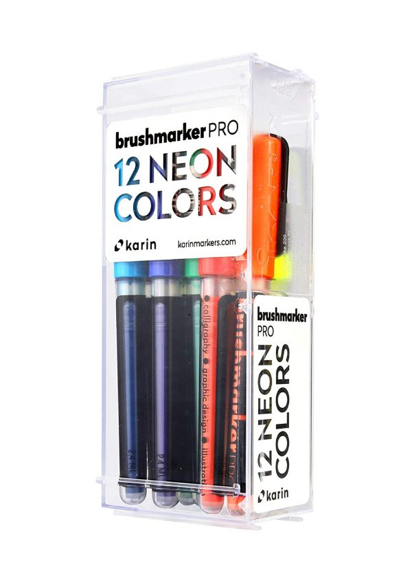 Karin Neon Colours – 12 Brush Markers Pro with neon Colours in Transparent Body and Free Ink System, 2.4 ml Liquid Colour. No Felt-tip Marker.