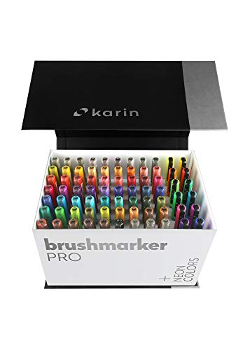 Karin Mega Box Plus – 72 Colours + 3 Blenders, Brush Marker Pro – Water-Based Brushpens Suitable for Painting, Drawing and Handlettering, Multi-Colour, Neon Colours Included