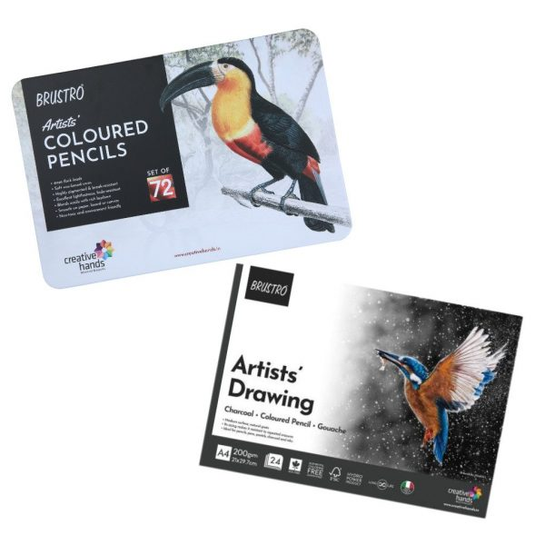 Brustro Artists' Colour Pencil Set of 72 ( In Elegant Tin Box ) With Drawing Glued Pad
