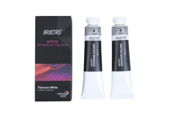 Brustro Artist Gouache Titanium White 40ml (Pack of 2)