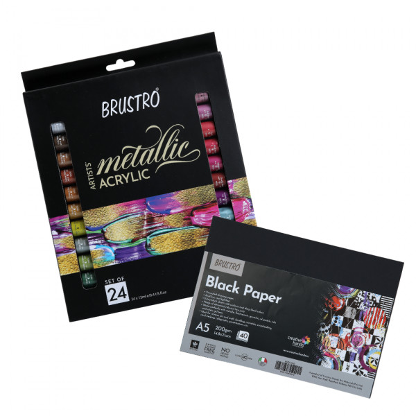 Brustro Artists' Metallic Acrylic Set of 24x12ml with Black Paper A5(Pack of 40 sheet)