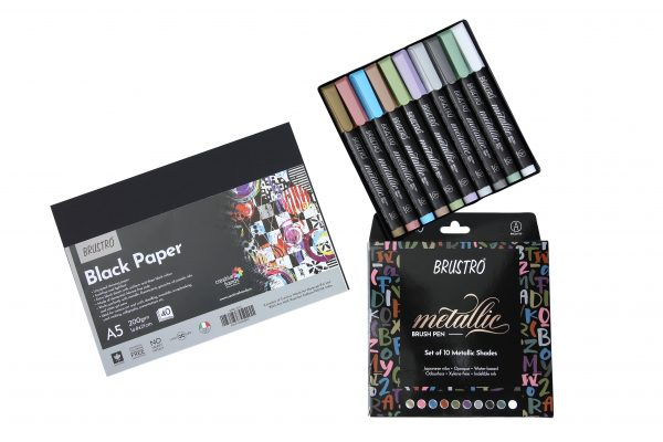 BRUSTRO Metallic Brush Pens Set of 10 Colors with Black Paper A5(Pack of 40 sheets)