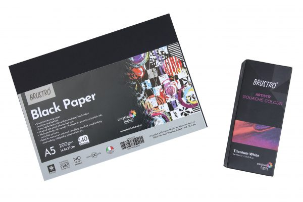 Brustro Gouache Titanium White 40ml with Black paper