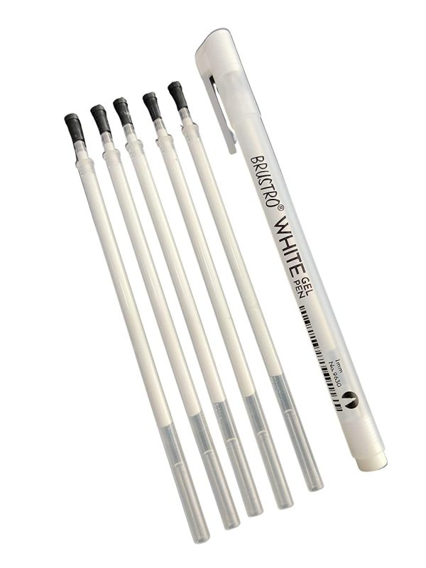 Brustro White Gel Pen (Pack of 1 Pen with 5 Refills)