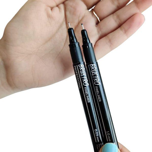 Brustro Professional Pigment Based Fineliner - Set of 10 (Black)