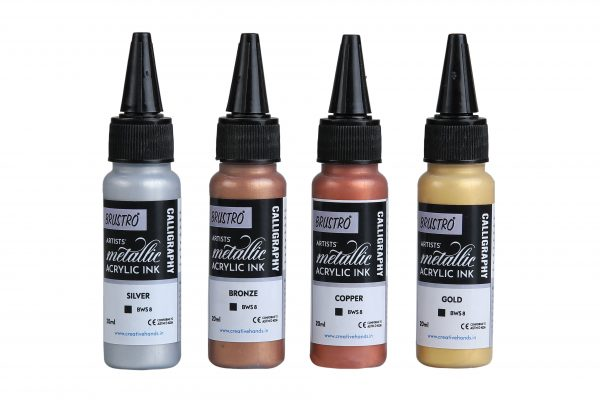 Brustro Acrylic Metallic Calligraphy Ink Set of 4 x 20ml