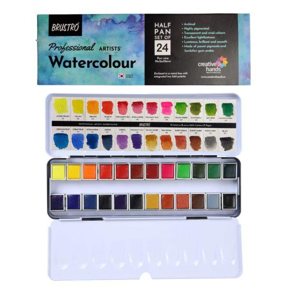 Brustro Professional Artists' Watercolour 24 half pan set