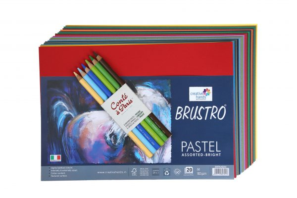 Conte A Paris Pastel Pencils (Blister Pack of 6) with Brustro Artist's Pastel Papers