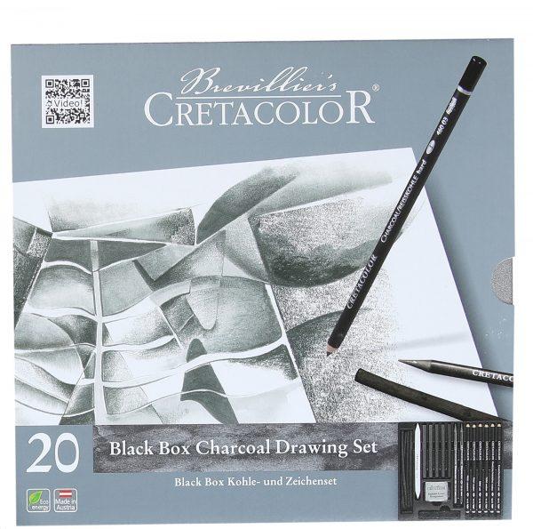 Cretacolor Black Box Charcoal Drawing Set of 20 - Tin Box (Free Brustro Artists' Sketch Book A5)