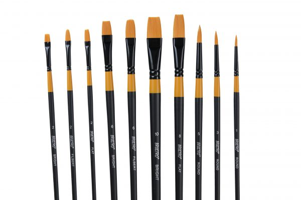 BRUSTRO ARTISTS GOLD TAKLON SET OF 10 BRUSHES for Acrylics, Oil and Watercolour.