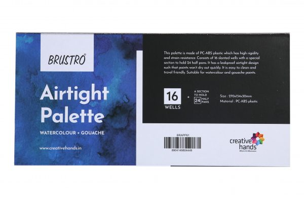 BRUSTRO Artists' AIRTIGHT Palette 16 Wells for Watercolour and Gouache with a Special Section to Hold 24 Half Pans and a Removable Clear Tray