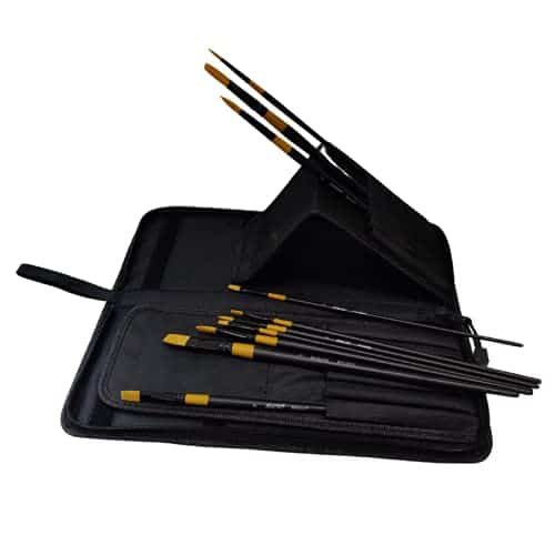 BRUSTRO Artists Gold TAKLON Brushes for Oil Acrylics, and Watercolor. Set of 10 with Brush Zip case